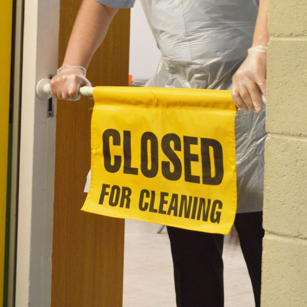Hanging Door Sign Twist Fit Closed For Cleaning Yellow